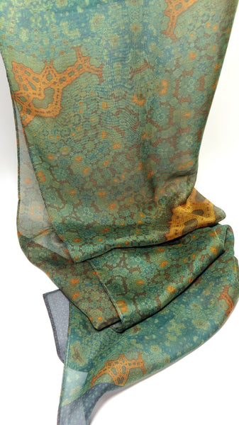 "Silk Shawl Scarf ""Orient"" in Green and Gold fractal paisley design. Simple Gift Idea, Mindfullness, Meditation Shawl, Retirement Gift"