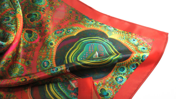 "Silk Bandana, Festival Scarf, Silk Scarf,  3D Fractal, 26"" Silk Kerchief, unisex scarf, gifts for women, altar cloth, Math scarf, science"