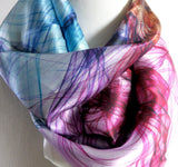 "Silk Scarf, Silk Bandana, Festival Scarf, 26"" Silk Kerchief, unique gifts for women, ""Knots 1 Multicolor"", neckerchief"