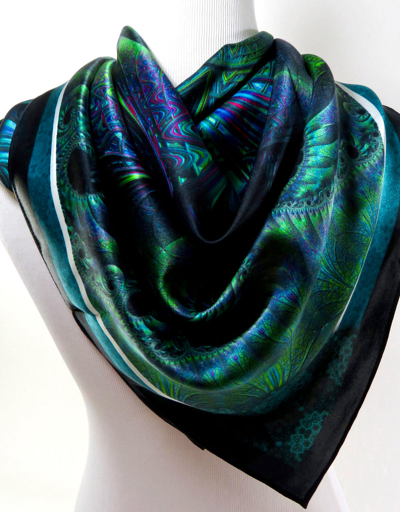 "Unique Scarf, ""Spiral Clockwork"" in Blue-Green Silk, Unique Christmas gift for woman, Wife gift, Mother Gift, psychedelic fractal scarf"