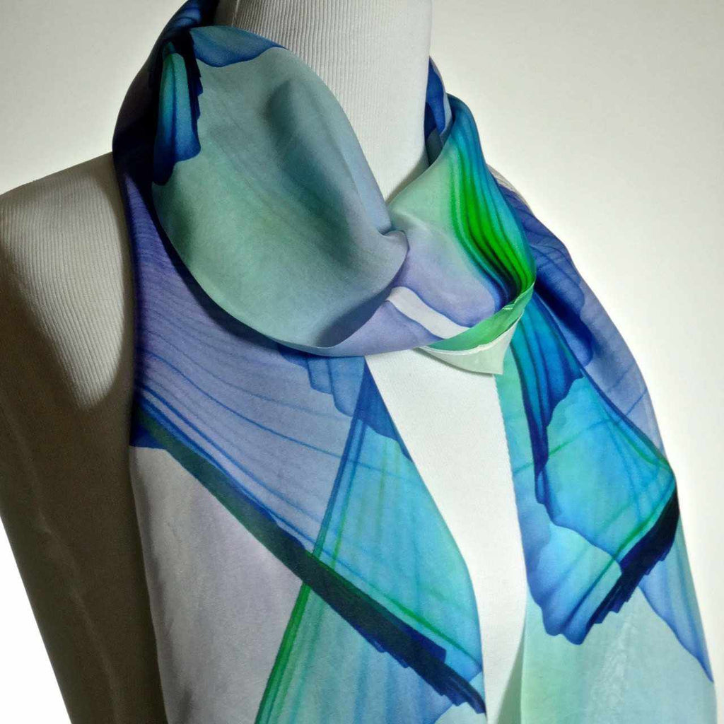 Wings Scarf, White Sheer Scarf fine Silk Chiffon Abstract Wings Design, gift ideas for her, gift box, Unique gifts