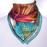 "Small Square Scarf, ""Carnival"" Silk Kerchief, Fractal design, 17"" Neck Scarf, gifts for her,  purse scarf, gift for woman, valentines gift"