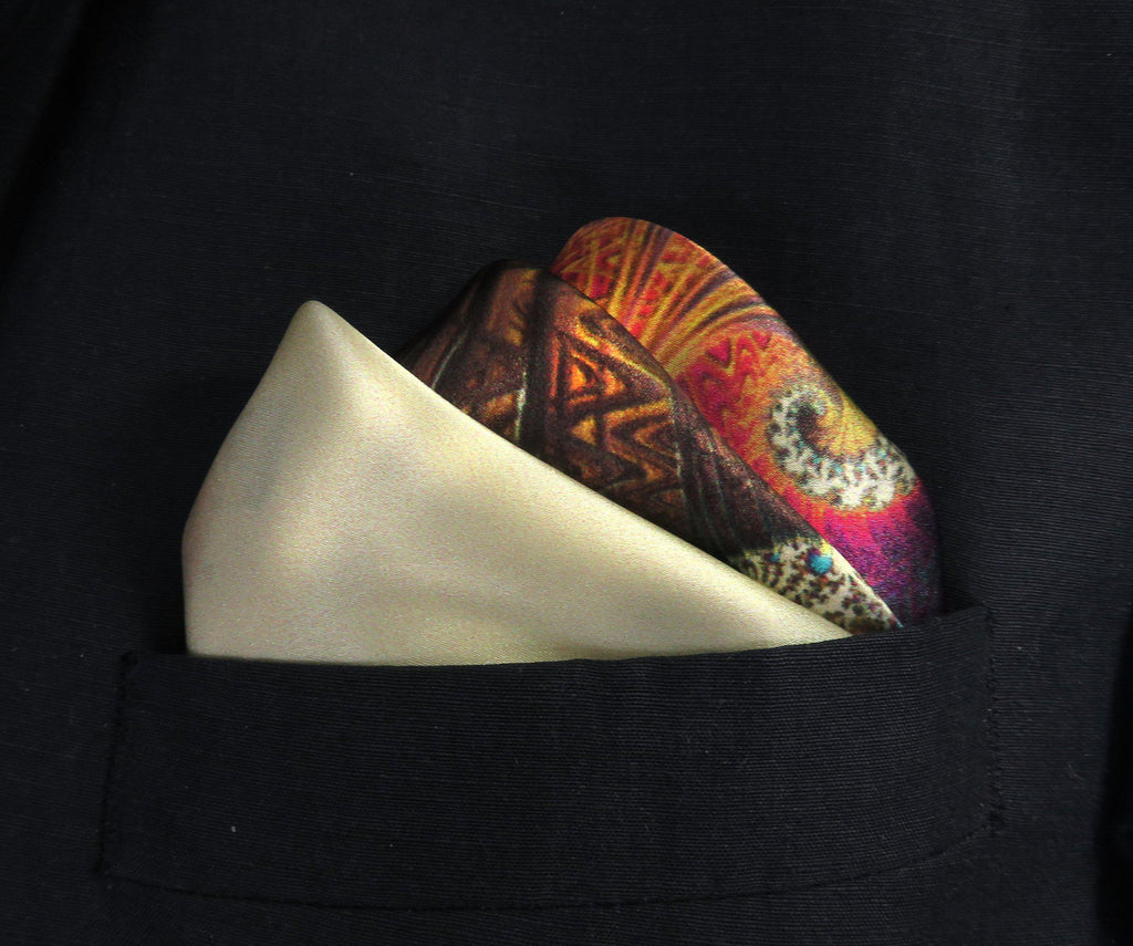 "Silk Pocket Square ""Carnival"" in Ivory, Peach, Blue handkerchief - ScarvesByEllen"
