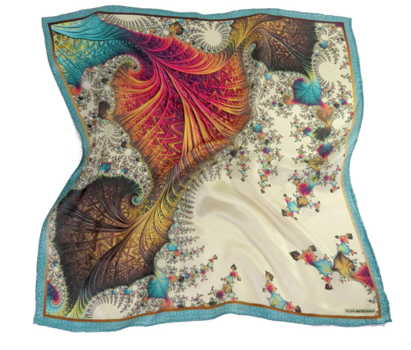 "Silk Pocket Square in Ivory, Peach, Aqua, silk handkerchief,  ""Carnival"" Mens Gifts, perfect gift for husband, turquoise"