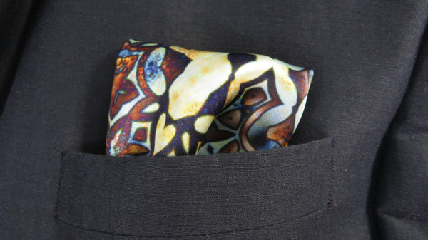 "Men's Silk Satin Pocket Square, ""Gustav"", a Fractal design, 17"" square, Gifts for Him, Science gifts, spread cloth, Unique gifts for men"
