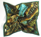 "Men's Silk Satin Pocket Square, ""Victorian 1"", a 3D Fractal design, 17"" square, hand-rolled hem, steampunk MADE TO ORDER"