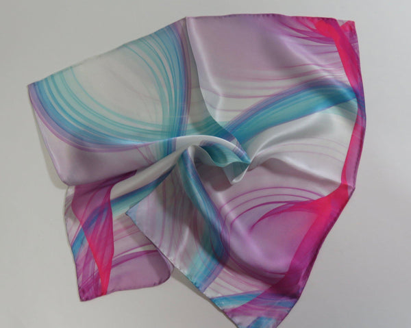 "Silk Pocket Square, White Pink and Blue handkerchief, 17"" Square, gifts for him, hand-rolled hem, small scarf, secret santa"