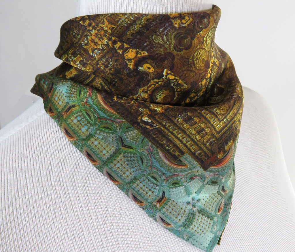 "Small Silk Scarf, ""Pavilion of Kubla Khan"" Square Silk Kerchief, 3D Fractal design, gifts for her,  purse scarf, wrist scarf secret santa"