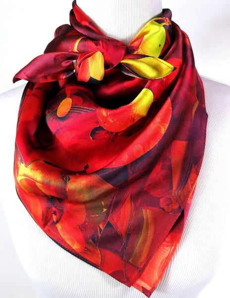 Unique Silk Scarf, 3D Fractal design, gift for woman, math gift, gift for man, red and black abstract fine silk valentines gift