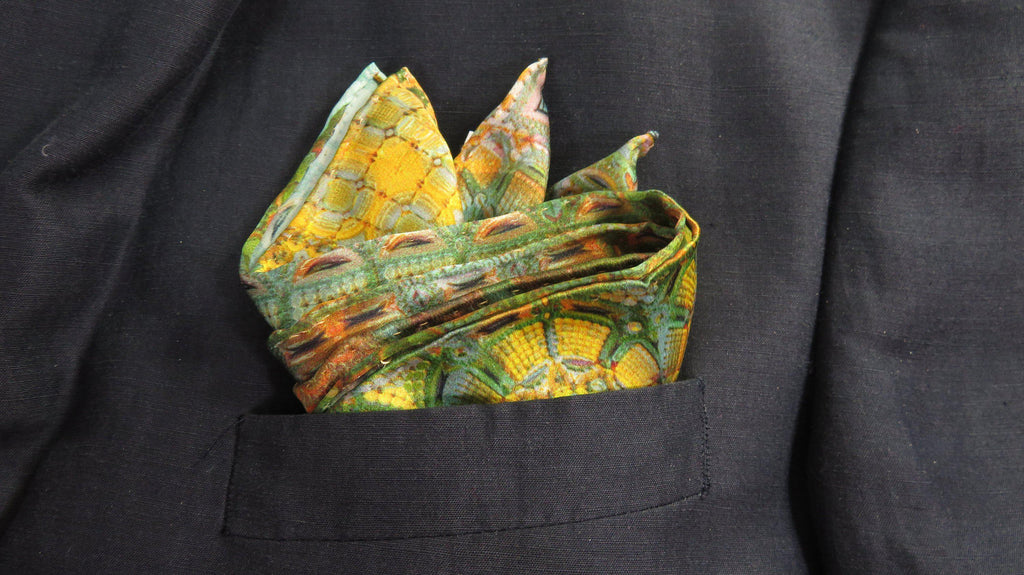 "Silk Pocket Square, Gift for Him ""Kubla Khan"", abstract Fractal design, unique gifts for men, hand-rolled hem, Science Scarf - ScarvesByEllen"