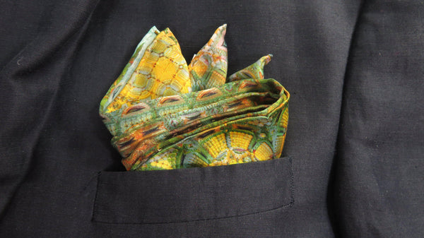 "Silk Pocket Square, Christmas Gift for Him ""Kubla Khan"", abstract Fractal design, unique gifts for men, hand-rolled hem, Science Scarf"