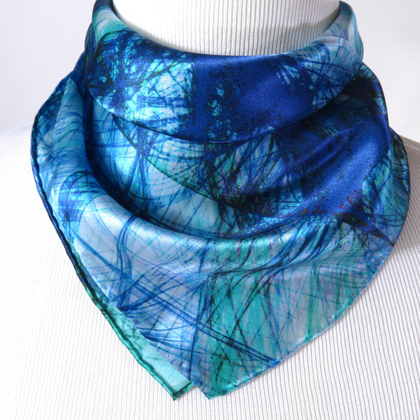 "Small Silk Scarf, ""Knots Bright Blue"" Square Silk Kerchief, gifts for her, purse scarf, wrist scarf birthday present"