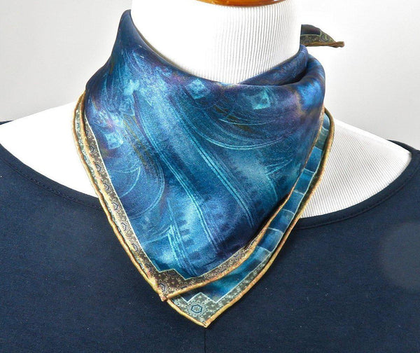 "Small Silk Scarf, Silk Neckerchief, ""Altar in Blue"", 3D Fractal design, 17"" Square, gifts for her, small scarf, hand-rolled hem, purse scarf"