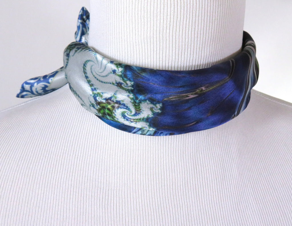 "Small Square Scarf, ""Mediterranean"" 17"" Silk Neckerchief, Fractal design, wrist scarf, gifts for her, purse scarf, pocket square"