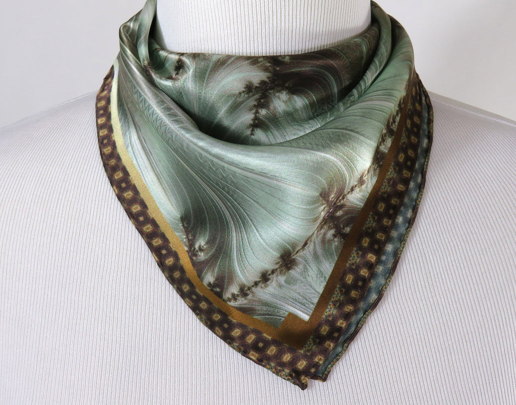 "Small Square Scarf, ""Forest Glen"" 17"" Silk Neckerchief, Fractal design, wrist scarf, gifts for her, purse scarf, pocket square"