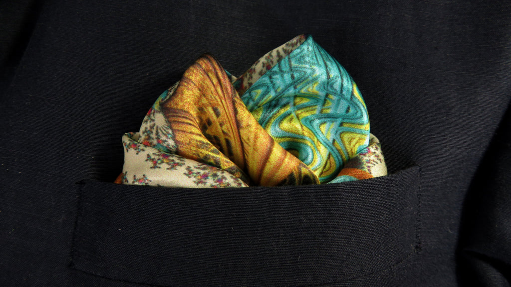 "Mens Gifts, Silk Pocket Square in Ivory, Peach, Turquoise handkerchief,  ""Carnival"" science present, fathers day gift for husband"