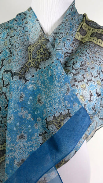"Long Silk Scarf Shawl, Meditation Shawl, Unique Scarves for Women, Light Blue Gold wrap scarf, Gift for woman,  ""Orient"", Fractal, Zen"
