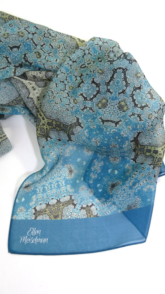 "Long Silk Scarf Shawl, Meditation Shawl, Light Blue Gold ""Orient"" Design - ScarvesByEllen"