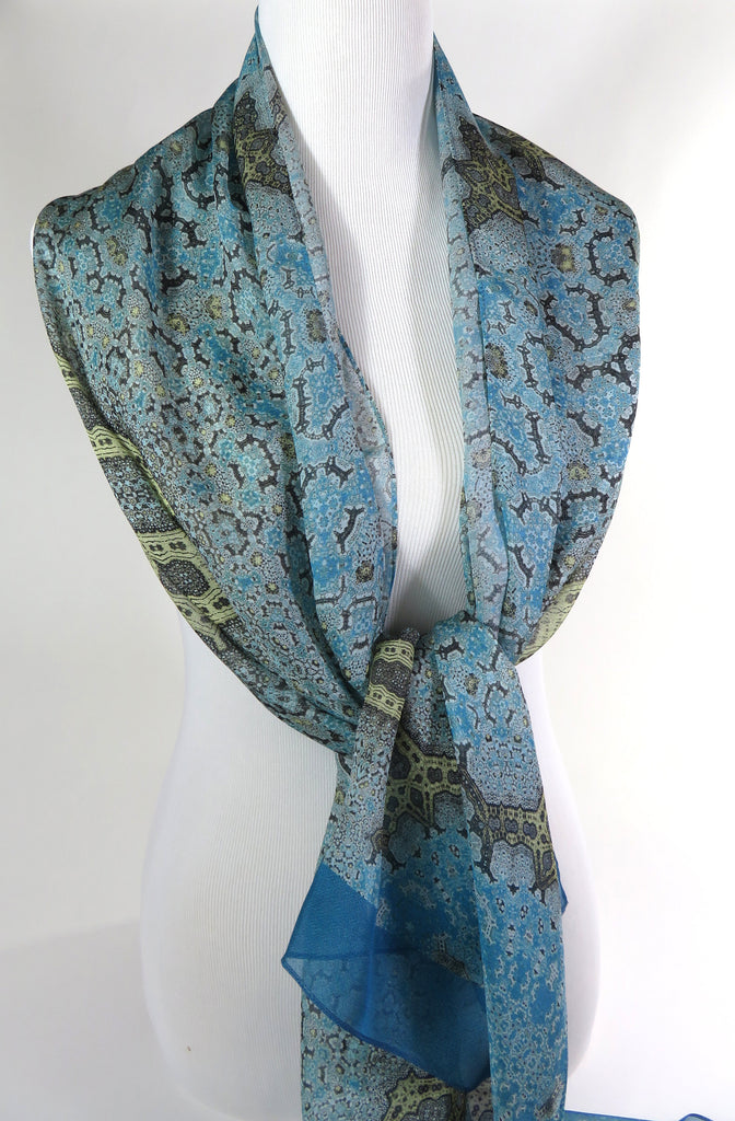 "Long Silk Scarf Shawl, Meditation Shawl, Unique Scarves for Women, Light Blue Gold wrap scarf, Gift for woman,  ""Orient"", Fractal, Zen - ScarvesByEllen"