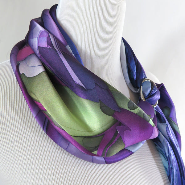 Purple Silk Scarf, Womens Square Scarf Silk, 3D Fractal Festival scarf, Trippy Psychedelic Violet Satin, altar cloth