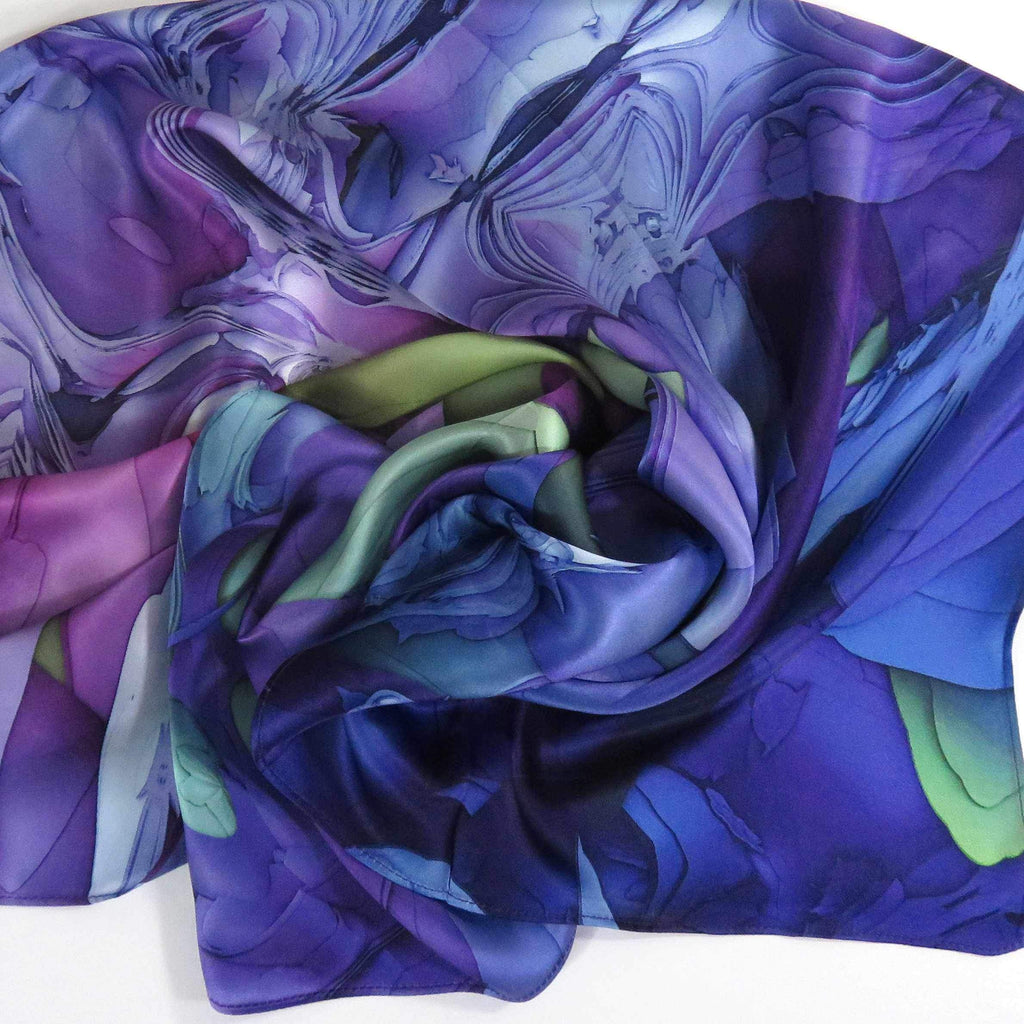 Violet Scarf, Womens Square Silk Scarf, 3D Fractal Festival scarf, Trippy Psychedelic, Unique Scarf, Unusual Gift