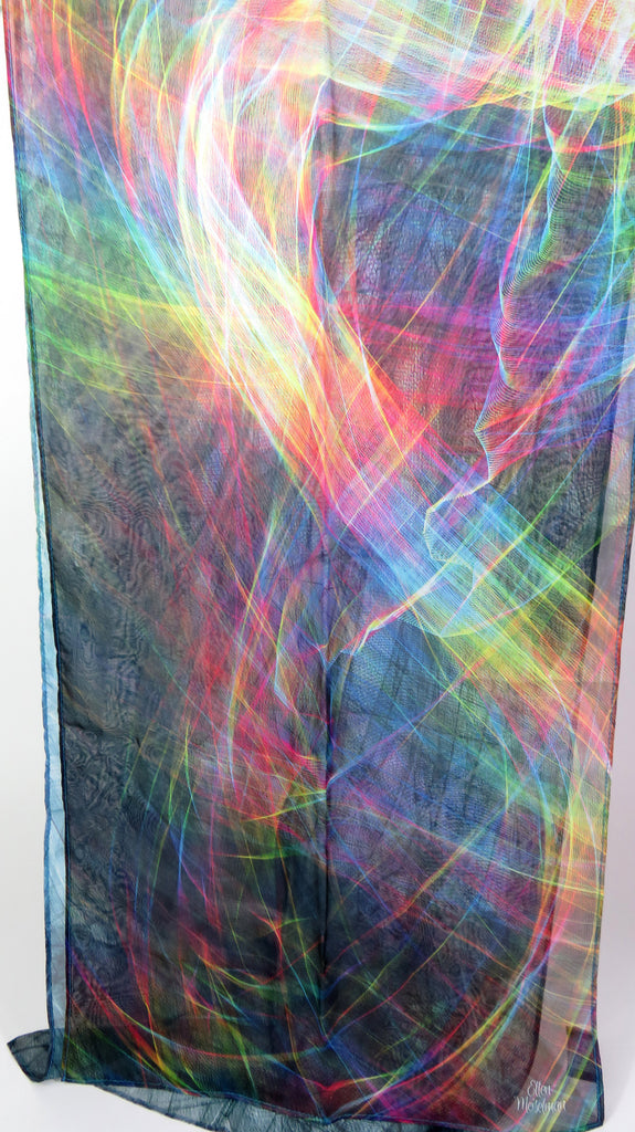 Summer Scarf for Woman, ombre multicolor light silk scarf, unique gift for woman, Festival clothing, sheer silk chiffon shawl