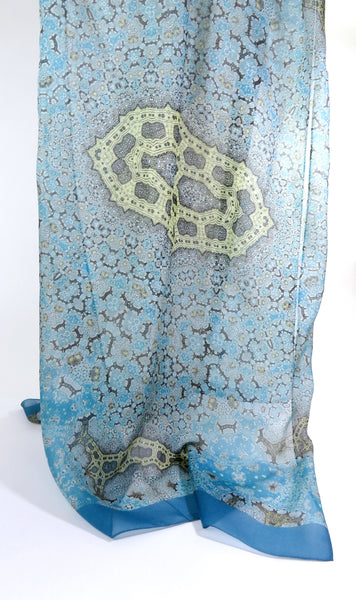 "Long Silk Scarf Shawl, Meditation Shawl, Retirement Gift for Women, Light Blue Gold,  Gift for woman ""Orient"", Mother's Day gift Ideas"