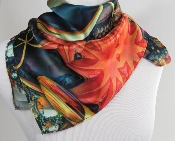 "Silk Bandana Scarf, 26"" Square Festival bandana, unique neckerchief, 3D Fractal, sacred geometry, altar cloth"