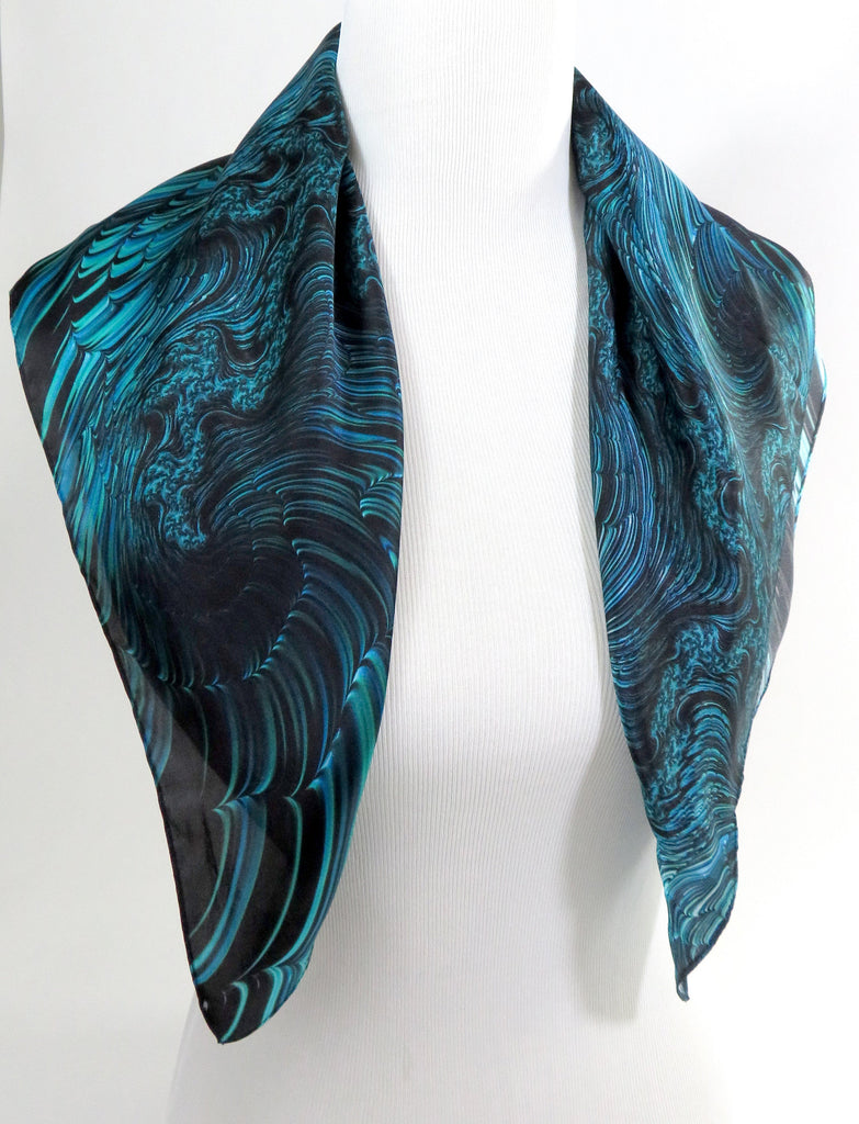 "Silk Bandana, 3D Fractal, 26"" Square Festival scarf, unique gift for him or her,  ""The Great Wave"" blue silk altar cloth - ScarvesByEllen"