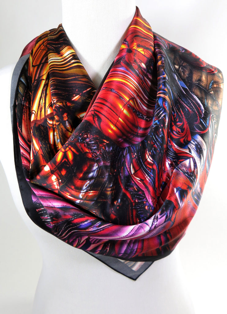 Red and Gold Silk Scarf, Womens Square Scarf Silk, 3D Fractal Festival scarf, Trippy Psychedelic Gold Silk Scarf Art Silk, tapestry - ScarvesByEllen
