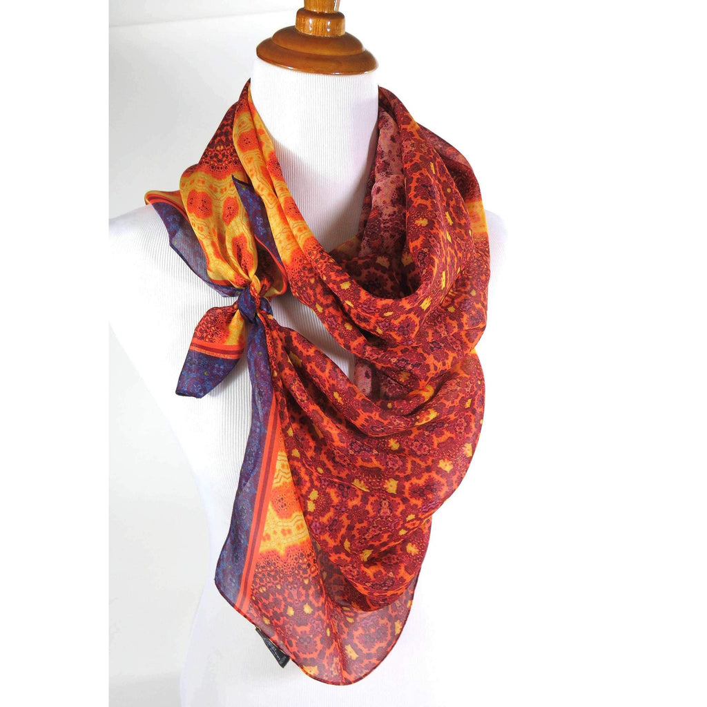"Long Silk Scarf Shawl, ""Orient"" in Red Orange, Unique fractal paisley design, Mother's Day or Retirement Gift, lightweight Spring Shawl 