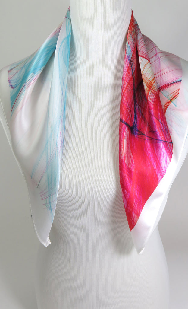 "Pink and White 26"" Silk Scarf, Pink, Red and Turquoise square white scarf, gift for her, graduation gift, ""Mardi Gras"", birthday gift - ScarvesByEllen"