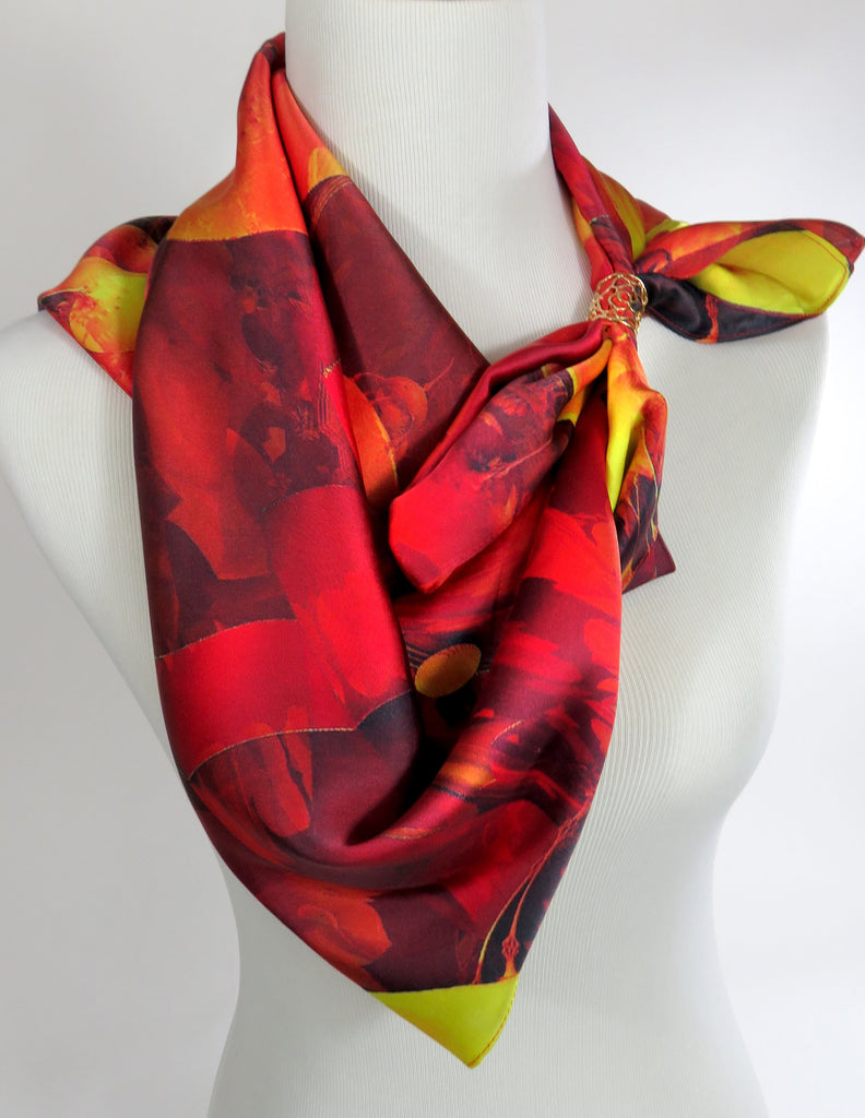 "Red Scarf, Unique 36"" Square Silk Scarf for woman or man, 3D Fractal design, suit scarf, shoulder scarf, kente scarf, unusual scarf for man - ScarvesByEllen"