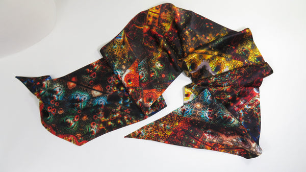 "Festival Scarves for Men, 2-sided Silk Fractal scarf, festival clothing, Long Satin Psychedelic Scarf Red Gold Brown, ""Fractal Patchwork"""