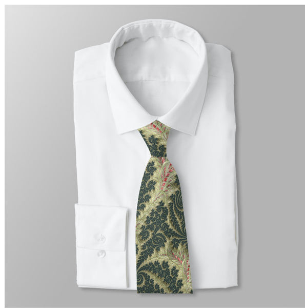 "Men's Necktie, rose and olive Digital Brocade ""Fractal de Lyon"" design,  gifts men, Digital Print on Polyester, ties for dad, Father's Day"