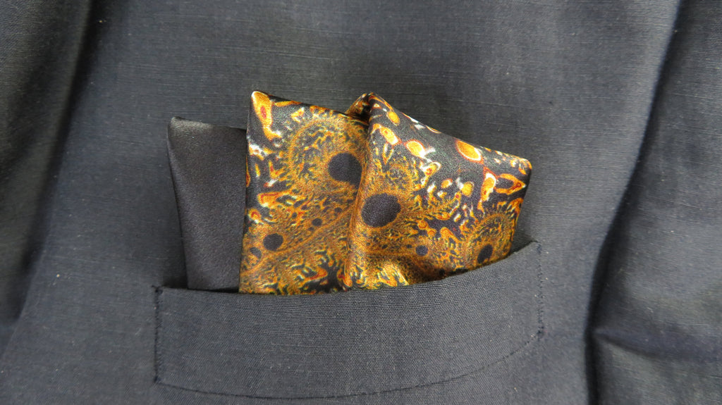 "Mens Gifts, Silk Pocket Square, Black and Gold Satin handkerchief, gift for man, ""Mercurial"" - ScarvesByEllen"