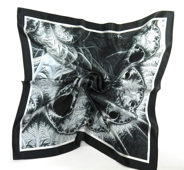 "Black and Gray  Silk Bandana, 3D Fractal, 26"" Square Festival  scarf, unique gift,  ""Monochrome Fractal"", sacred geometry, altar cloth"