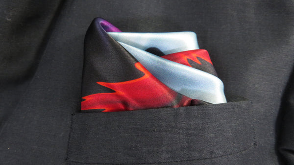 "Silk Pocket Square, Gift for Him ""Fire and Ice"", red blue, violet abstract Fractal design, unique gifts for men,  boyfriend gift"
