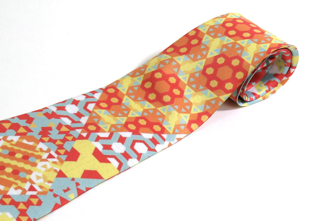 Men's Necktie, Red, Peach, Yellow, Blue, Mathematical gifts, Science gifts, Digital Print on Polyester, Father's Day, birthday gift for men - ScarvesByEllen