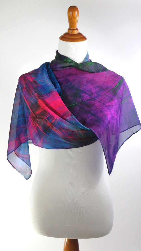 ombre multicolor light silk scarf, unique gift for woman, Art scarf, silk chiffon shawl, fuschia purple, Summer Scarf for Woman,
