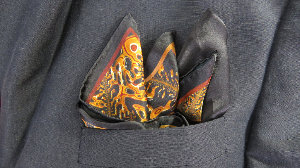 "Mens Gifts, Silk Pocket Square, Black and Gold Satin handkerchief, gift for man, ""Mercurial"""