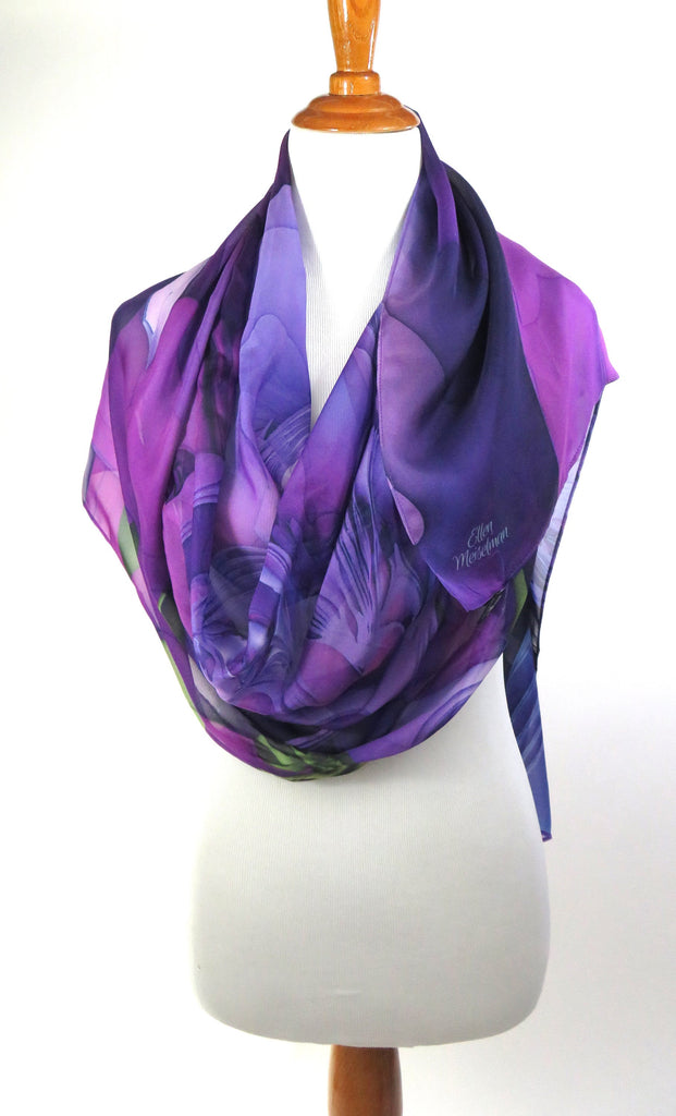 "Purple Silk Shawl for women, 70"" x 26"" sheer purple and violet silk scarf, gift for her, light shawl - ScarvesByEllen"