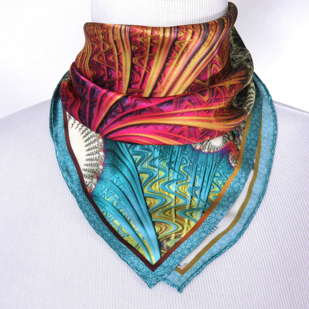 "Small Scarf, ""Carnival"" Pink, Yellow, Blue, Aqua, Little Neck Scarf, gifts for women, wrist scarf, purse scarf, ponytail tie - ScarvesByEllen"