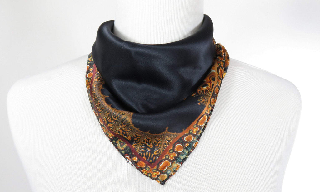 "Silk Neckerchief, Small 17"" Square Scarf,  Black Silk Scarf, gifts for women, wrist scarf, purse scarf  ""Mercurial 