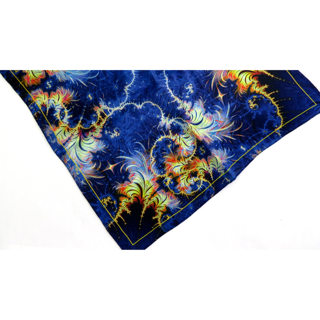 "Mens Silk Pocket Square, Fractal Silk handkerchief, ""Azimuth"",  unique gifts for Men, Thank You gift for man, Small Scarf 