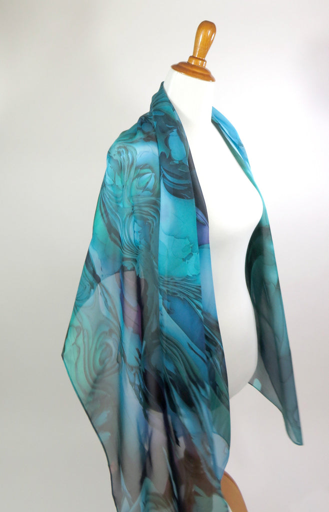 "Blue Green Silk Shawl, Wide Silk Scarf 70"" x 26"" sheer blue chiffon wrap for women, gift for wife, retirement gift, thank you gift - ScarvesByEllen"