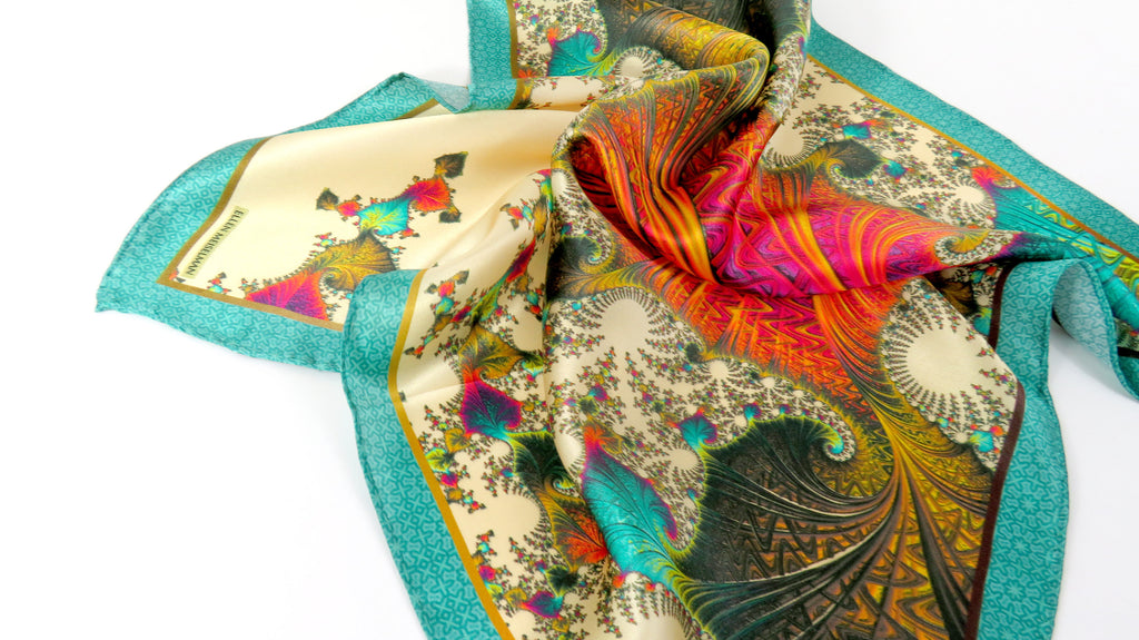 "Mens Gifts, Silk Pocket Square in Ivory, Peach, Aqua, silk handkerchief,  ""Carnival Gold"" gift for husband, turquoise - ScarvesByEllen"