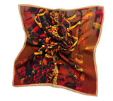 "Mens Gifts, Silk Pocket Square, Black, Gold, terracotta handkerchief, 3D Fractal Design, gift for husband, ""Moderne"" - ScarvesByEllen"