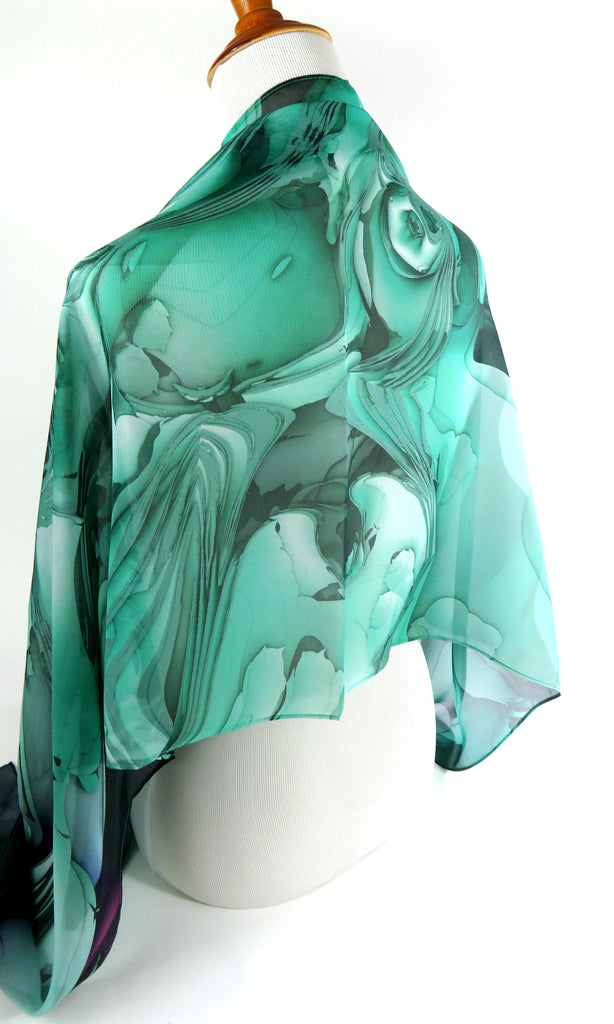 "Silk Chiffon Shawl for women in three colors. Wide Silk Scarf 70"" x 26"" Evening Wrap, retirement gift, thank you gift, Oceanic - ScarvesByEllen"