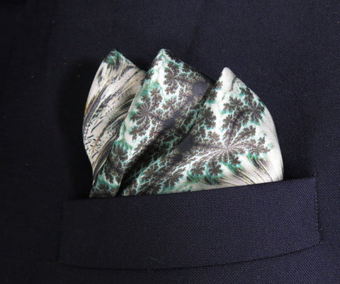 "Mens Silk Pocket Square, Green Silk handkerchief, ""Forest Canopy"" Fractal Design, Unusual gifts for Men, Boyfriend gift, Silk Hankie - ScarvesByEllen"